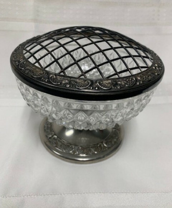 Glass rose bowl, silver plated