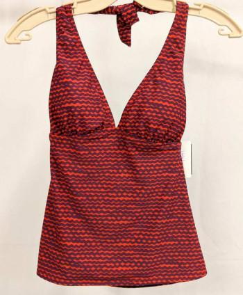 Women's Red Patterned Swim Top